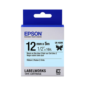 Epson LABELWORKS 12mm Ribbon Tape Cartridge - Black on Sky Blue [LK-4LBK]
