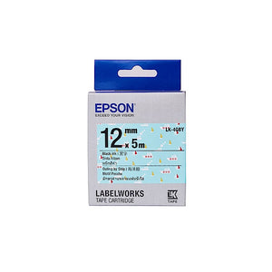 [Today ONLY] Epson LABELWORKS LK-4GBY 12mm Tape Cartridges (Pack of 4) - Black on Outing by Ship