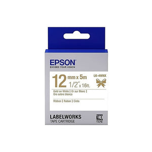 [Today ONLY] Epson LABELWORKS LK-4WKK 12mm Ribbon Tape Cartridges (Pack of 4) - Gold on White