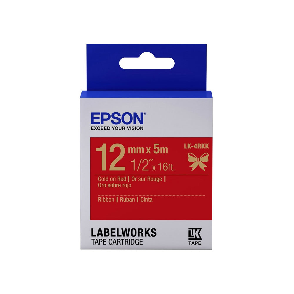 Epson LABELWORKS 12mm Ribbon Tape Cartridges (Pack of 4) - Gold on Red [LK-4RKK]