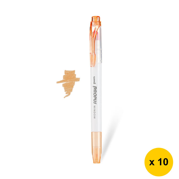 Uni Propus Window Twin Tip Highlighters (Pack of 10) - Smoke Orange [PUS-103T]