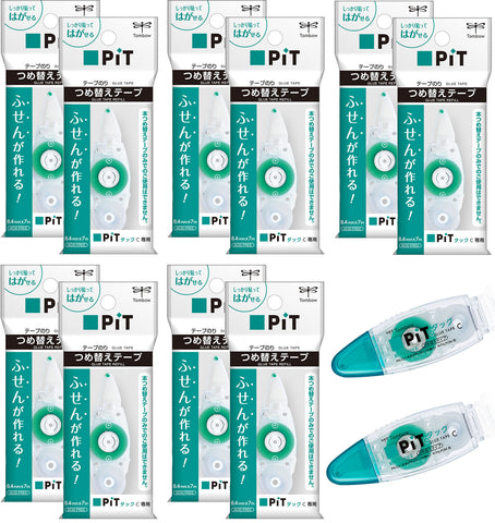 Tombow Pit Tack C 8.4mm x 7m Glue Tape Cartridges (10x) + PN-CK Rollers (2x) [PR-CK]