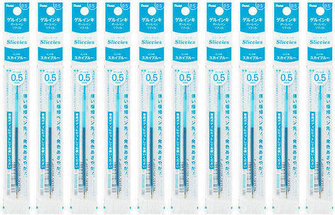 Pentel Sliccies 0.5mm Ballpoint Pen Refills (Pack of 10) - SkyBlue Ink [XBGRN5]