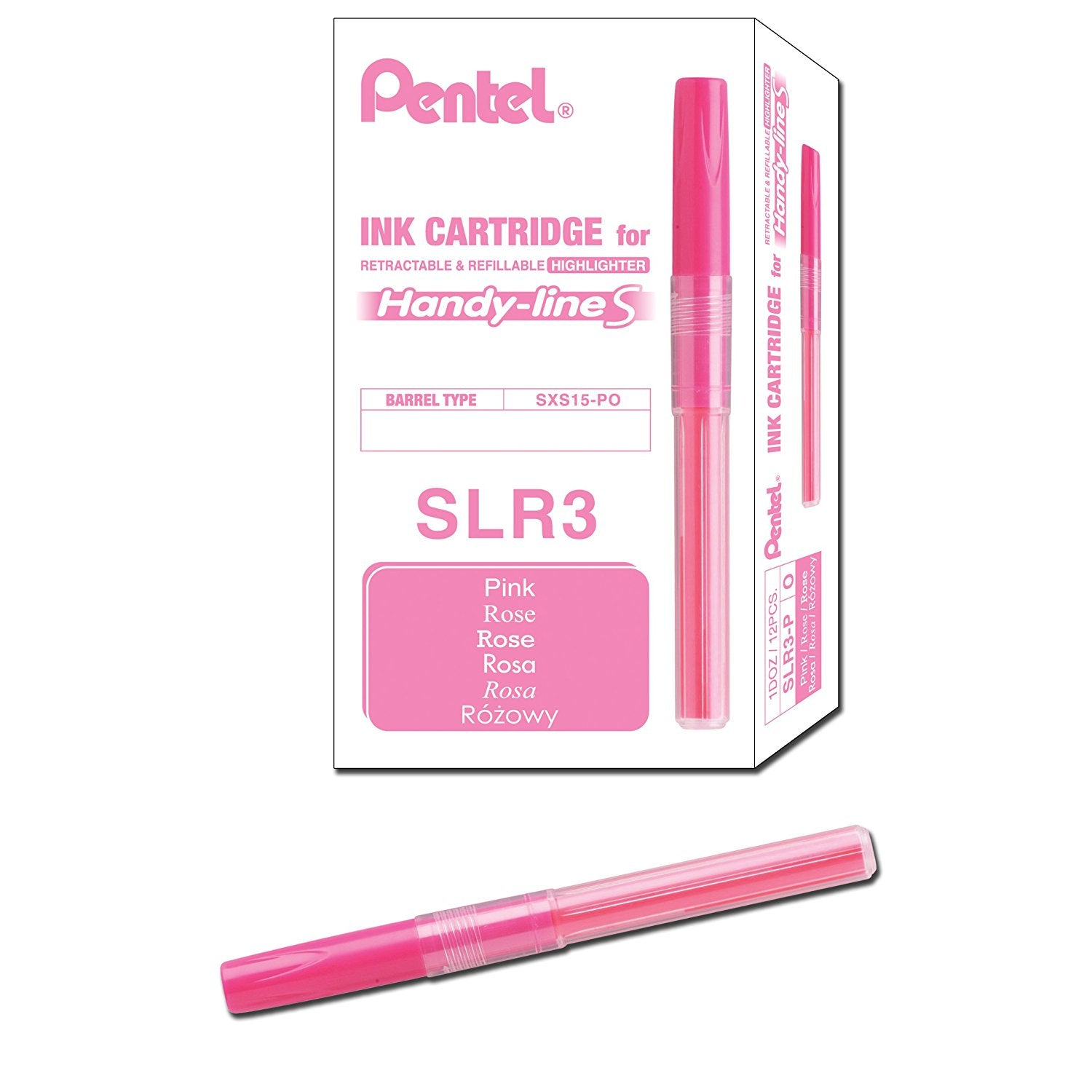 Pentel Handy-line S SLR3 Highlighter Refills (12pcs) - Pink