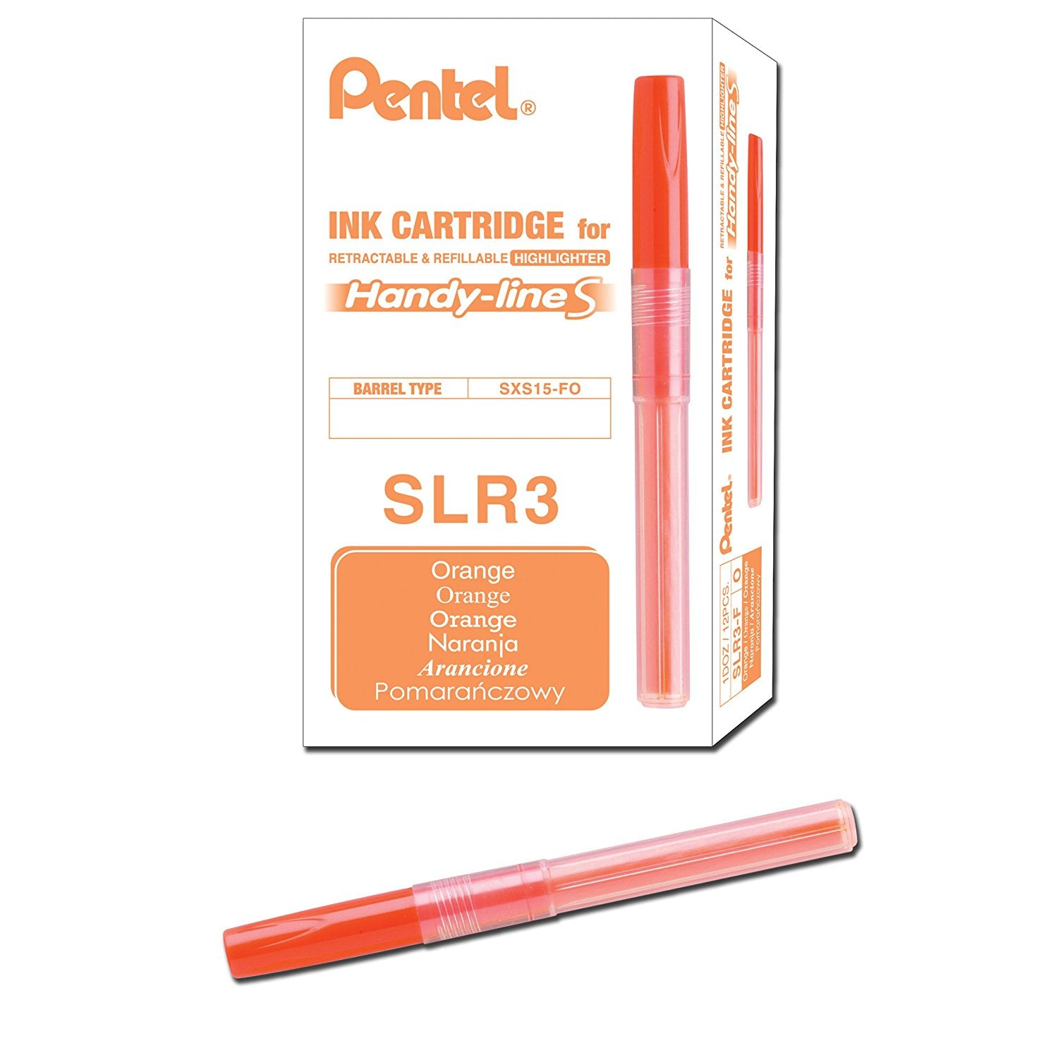 Pentel Handy-line S SLR3 Highlighter Refills (12pcs) - Orange [SLR3-FO]