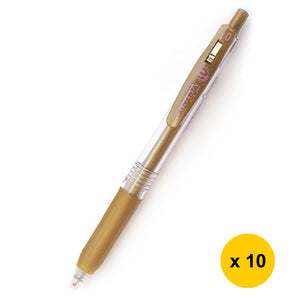 Zebra Sarasa JJE15 1.0mm Gel Ink Pen (10pcs) - Gold