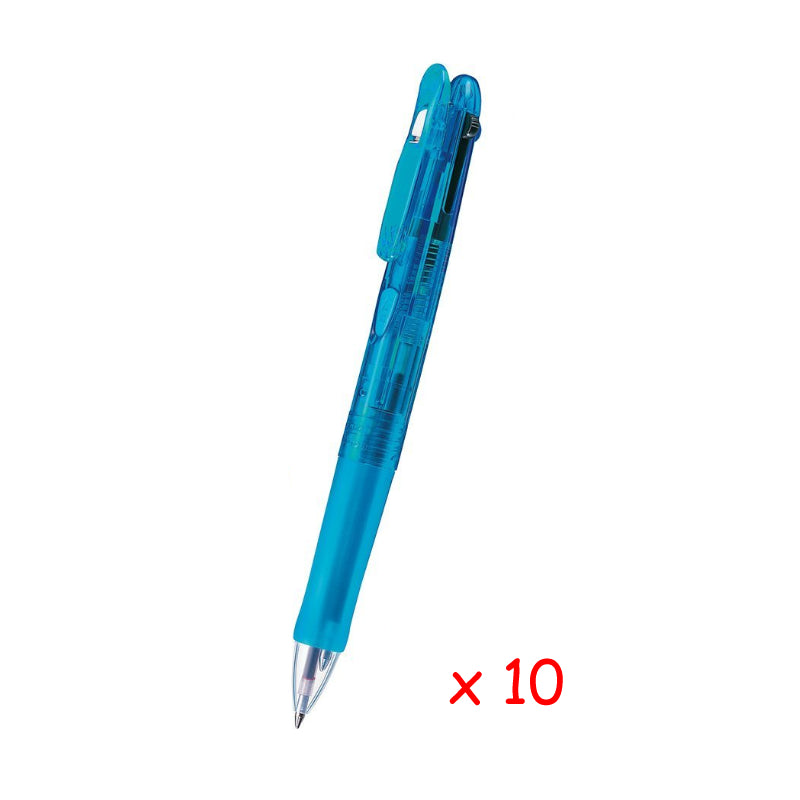 Zebra Clip-on G 4C 0.7mm 4-Color Ballpoint Pen (10pcs) - Light Blue [B4A3]