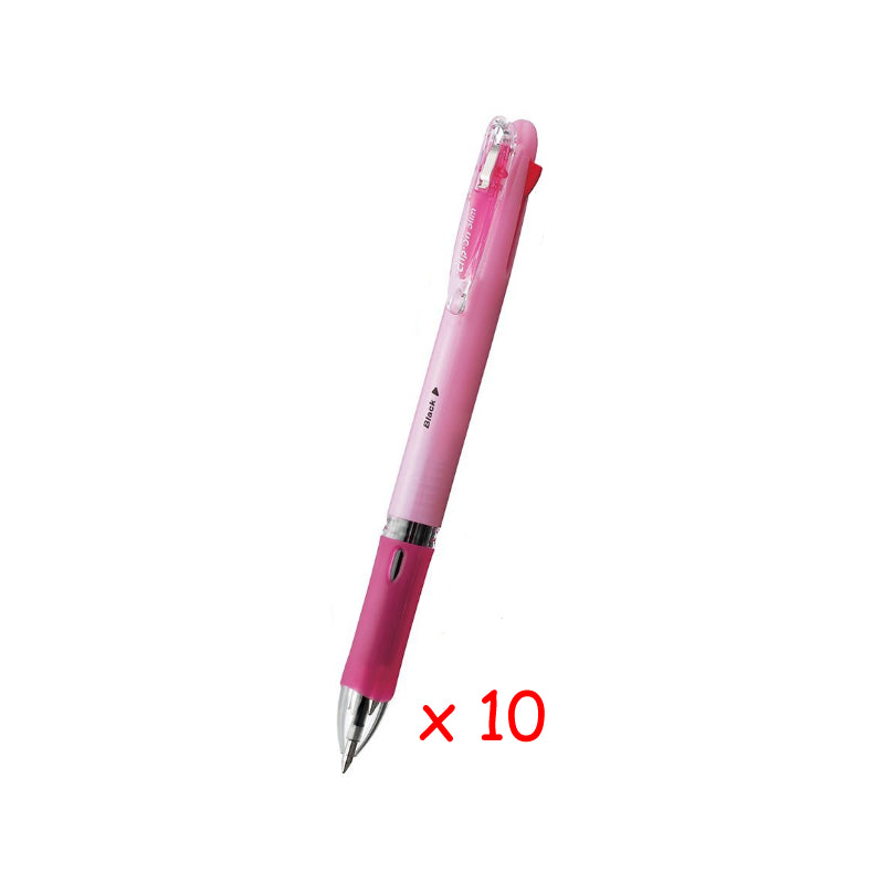 Zebra Clip-on Slim 4C 0.7mm 4-Color Ballpoint Pen (10pcs) - Pastel Pink [B4A5]