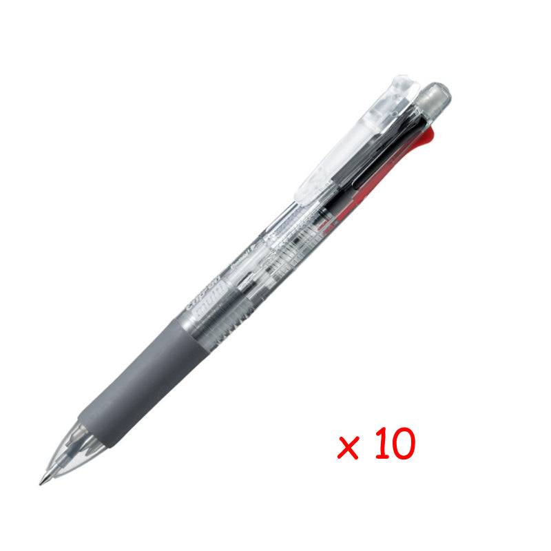 Zebra Clip-on multi 0.7mm Multifunctional Pen (10pcs) - Transparent [B4SA1]