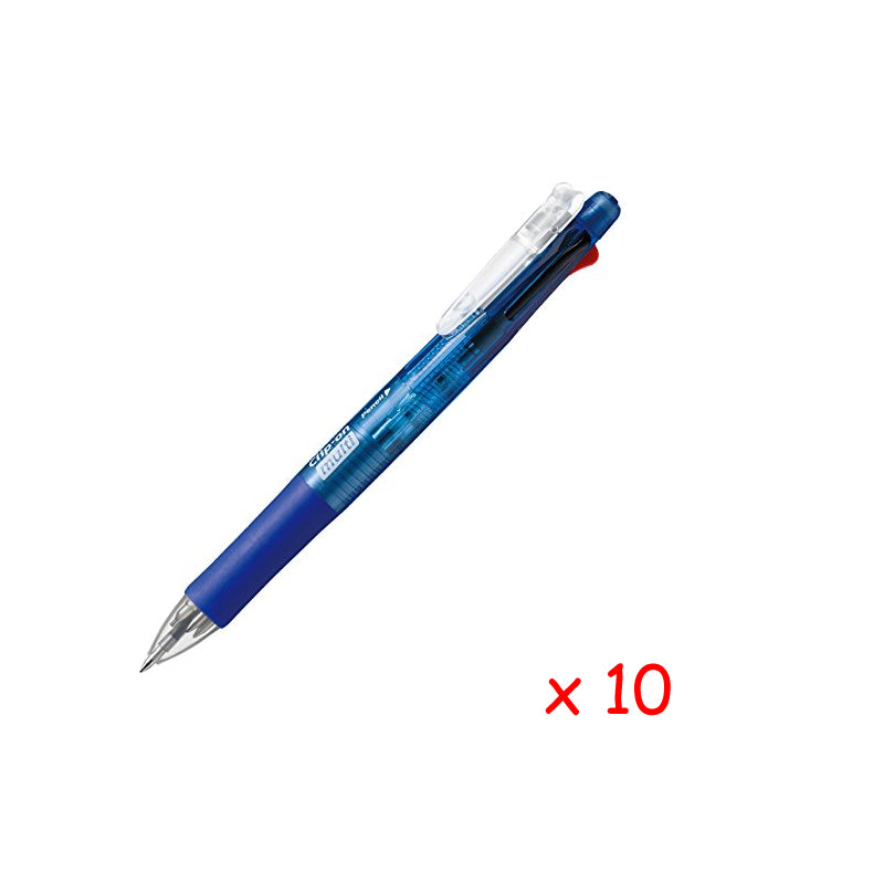 Zebra Clip-on multi 0.7mm Multifunctional Pen (10pcs) - Blue [B4SA1]