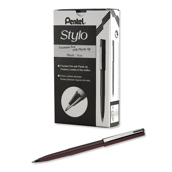 Pentel Tradio Stylo Fountain Pens (12pcs) - Black Ink [JM20]