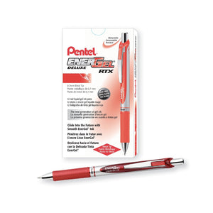 Pentel EnerGel 0.7mm Retractable Liquid Gel Roller Pen (12pcs) - Red Ink [BL77]