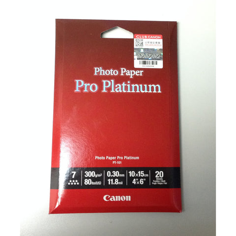 [Today ONLY] Canon PT-101 Platinum Series 4R 4 x 6 Photo Paper Pro (20 Sheets)