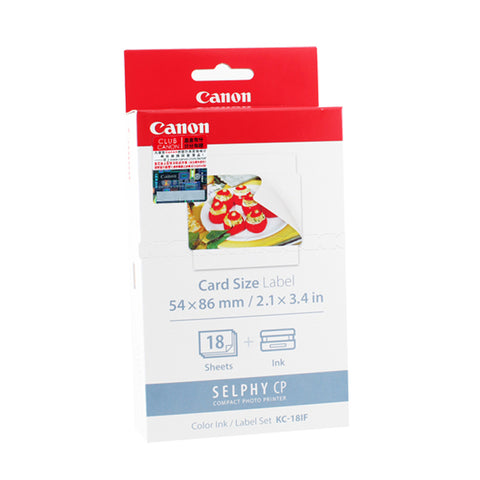 Canon KC-18IF Color Ink Cassette + 54 x 86 mm Full-Size Label Set (18 Sheets)