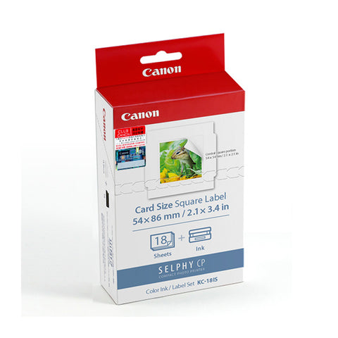 Canon KC-18IS Color Ink Cassette + 54 x 86 mm Card-Size Label Set (18 Sheets)