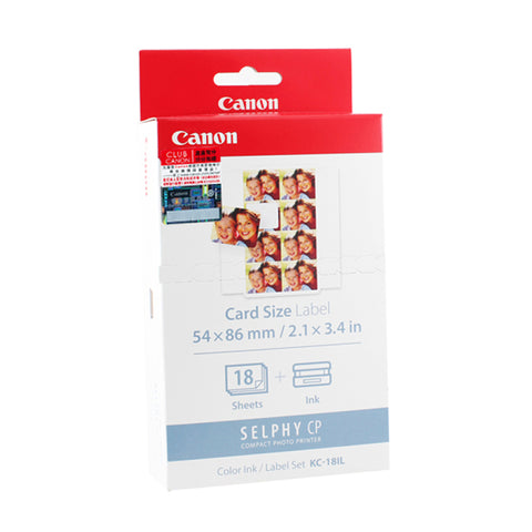 [VALUE] Canon KC-18IL Color Ink Cassette+54x86mm Label Set (18Sheets) (for CP1200/CP910)
