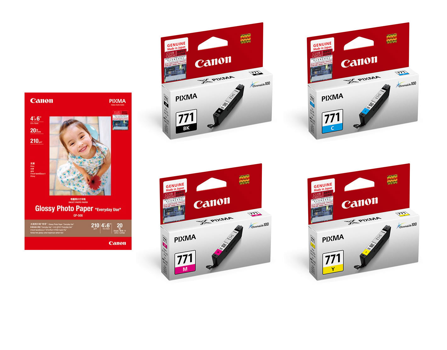 Canon CLI-771 BK/C/M/Y Ink Tanks (4pcs) + GP-508 4R Photo Paper (20 Sheets) [CLI-771 Value Pack]
