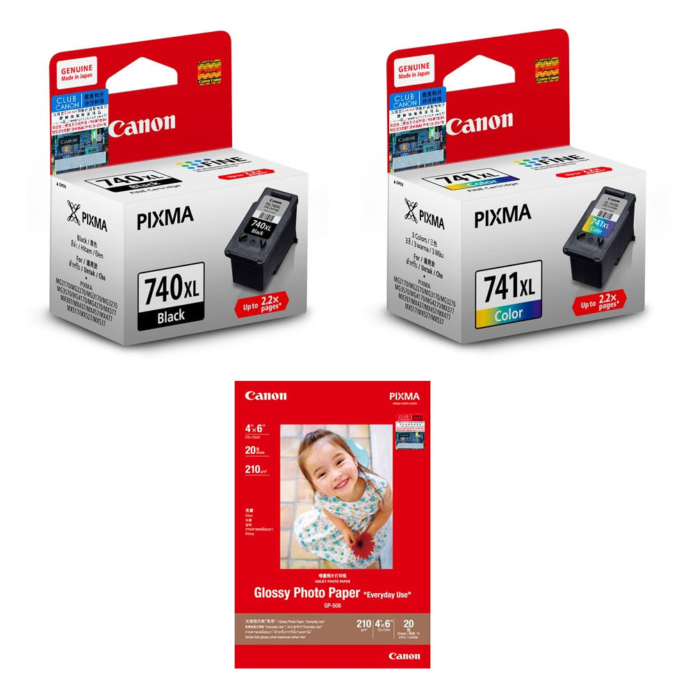 Canon PG-740XL and CL-741XL Ink Cartridges (2pcs) + 4R Photo paper (20 Sheets) [N/A]