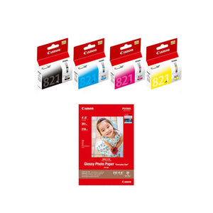 Canon CLI-821 BK/C/M/Y Ink Tanks (4pcs) + GP-508 4R Photo Paper (20 Sheets) [N/A]