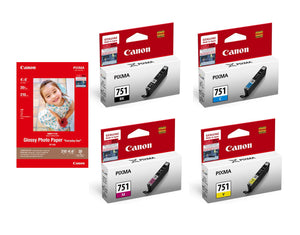 Canon CLI-751 BK/C/M/Y Ink Tanks (4pcs) + GP-508 4R Photo Paper (20 Sheets) [N/A]