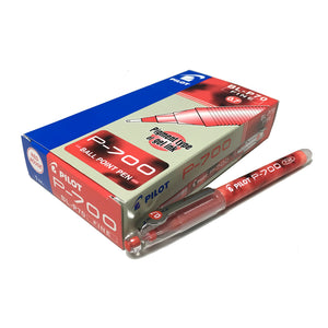 Pilot P-700 0.7mm Fine Ball Point Pen (Pigment Type of Gel Ink) (12pcs) - Red Ink [BL-P70]