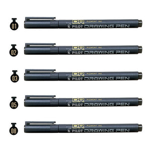 Pilot SW-DR 0.1mm, 0.2mm, 0.3mm, 0.5mm and 0.8mm Black Drawing Pens (5pcs) - Black Ink [N/A]