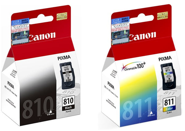 Canon PIXMA PG-810 Black and CL-811 Tri-Color Ink Cartridges (for MP497) (2pcs) - Assorted [PG-810+CL-811]