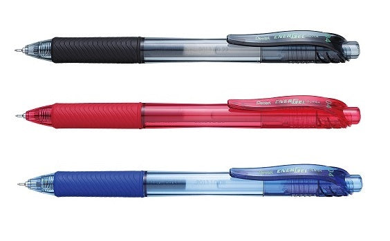 Pentel EnerGel Black, Red and Blue 0.4mm Retractable Gel Pens (3pcs) - Assorted [BLN104]