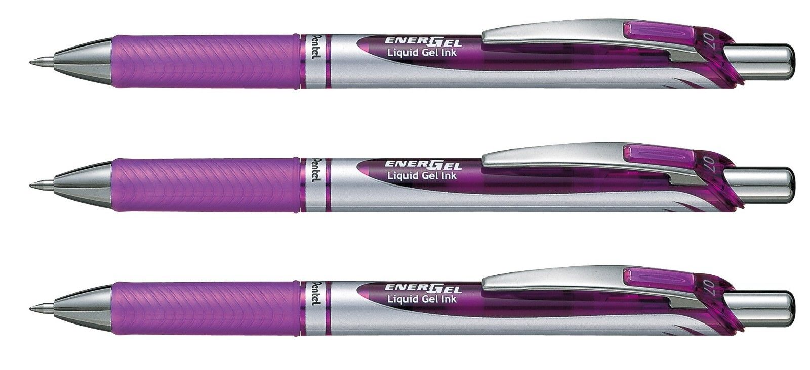 Pentel EnerGel 0.7mm Retractable Liquid Gel Roller Pen (3pcs) - Violet Ink [BL77]
