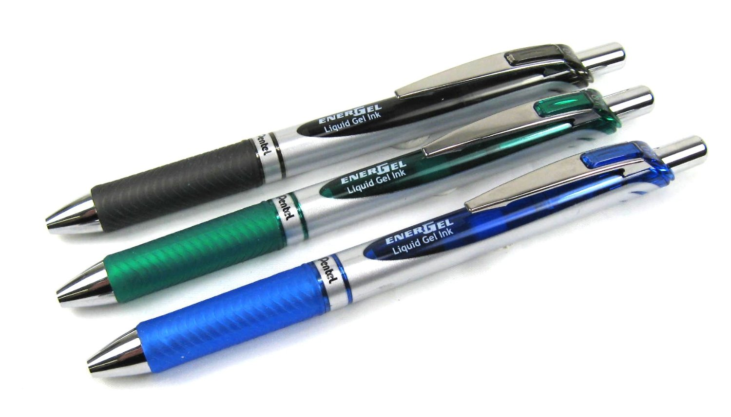 Pentel EnerGel Black, Green and Blue Liquid Gel Roller Pens (3pcs) - Assorted [BL77]