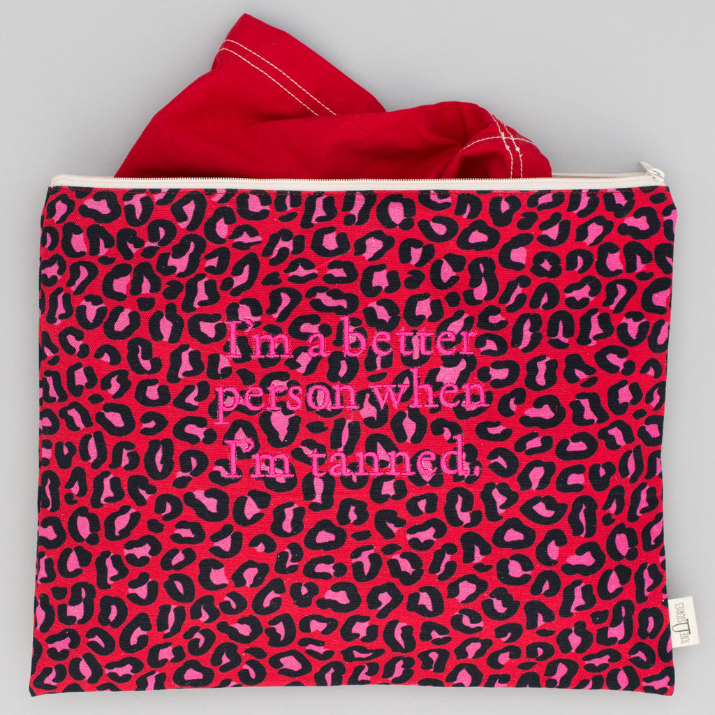 Beach Pouch - Leopard London Red