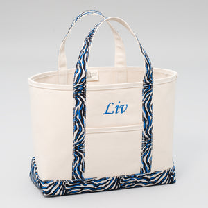 Limited Tote Bag - Zebra Chefchaouen Blue - Front