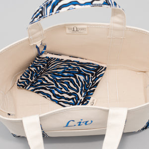 Limited Tote Bag - Zebra Chefchaouen Blue - Inside