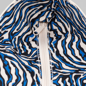 Limited Tote Bag - Zebra Chefchaouen Blue - Zip