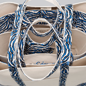 Limited Tote Bag - Zebra Chefchaouen Blue - Stack