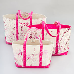 Paint Splatter Tote - Jaipur Pink - Sizes