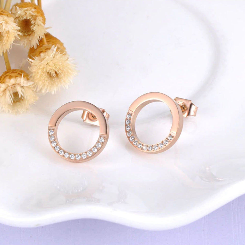 Donna Circle Necklace and Earrings Rose Gold Set