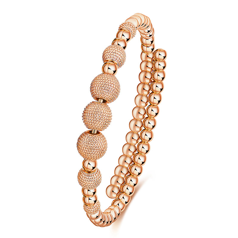 White Night Beaded Rose Gold Bracelet