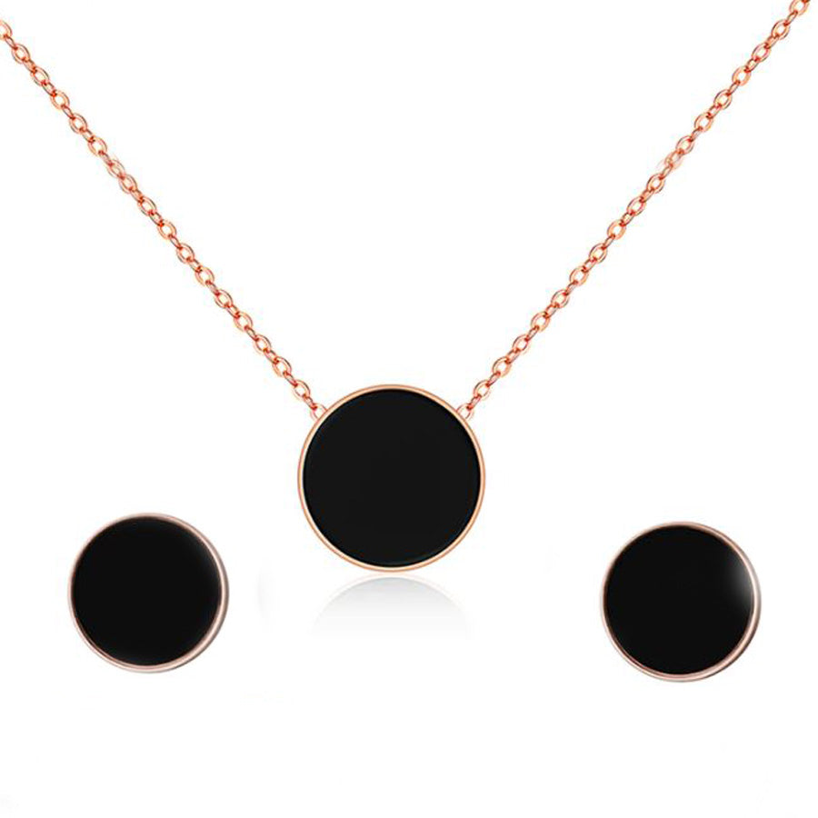 Vanessa Black Circle Necklace Earrings and Bracelet Rose Gold Set