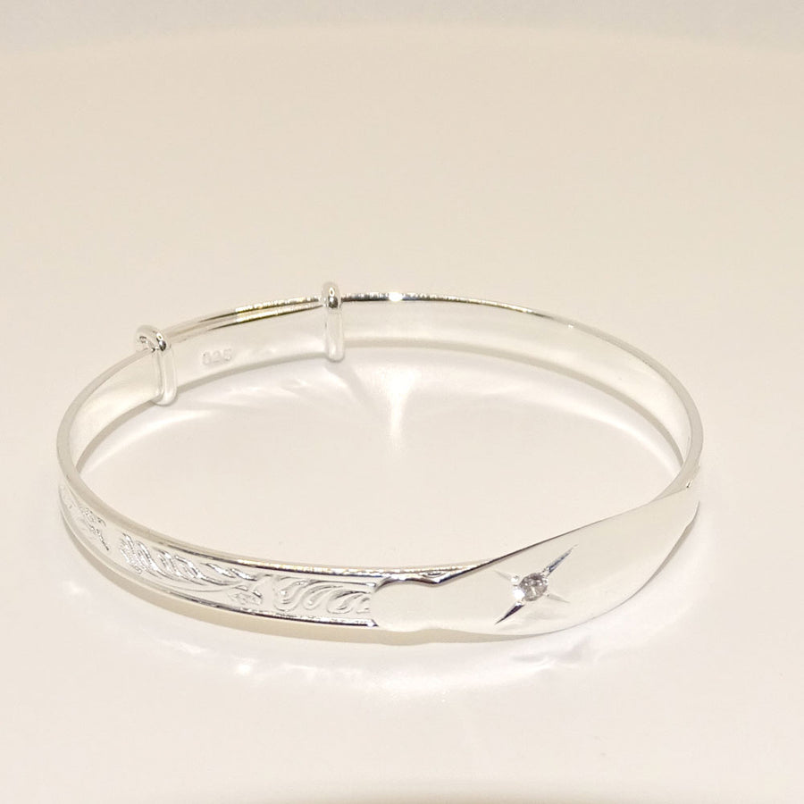 Baby Bangle Sterling Silver Clear Stone Christening Bracelet