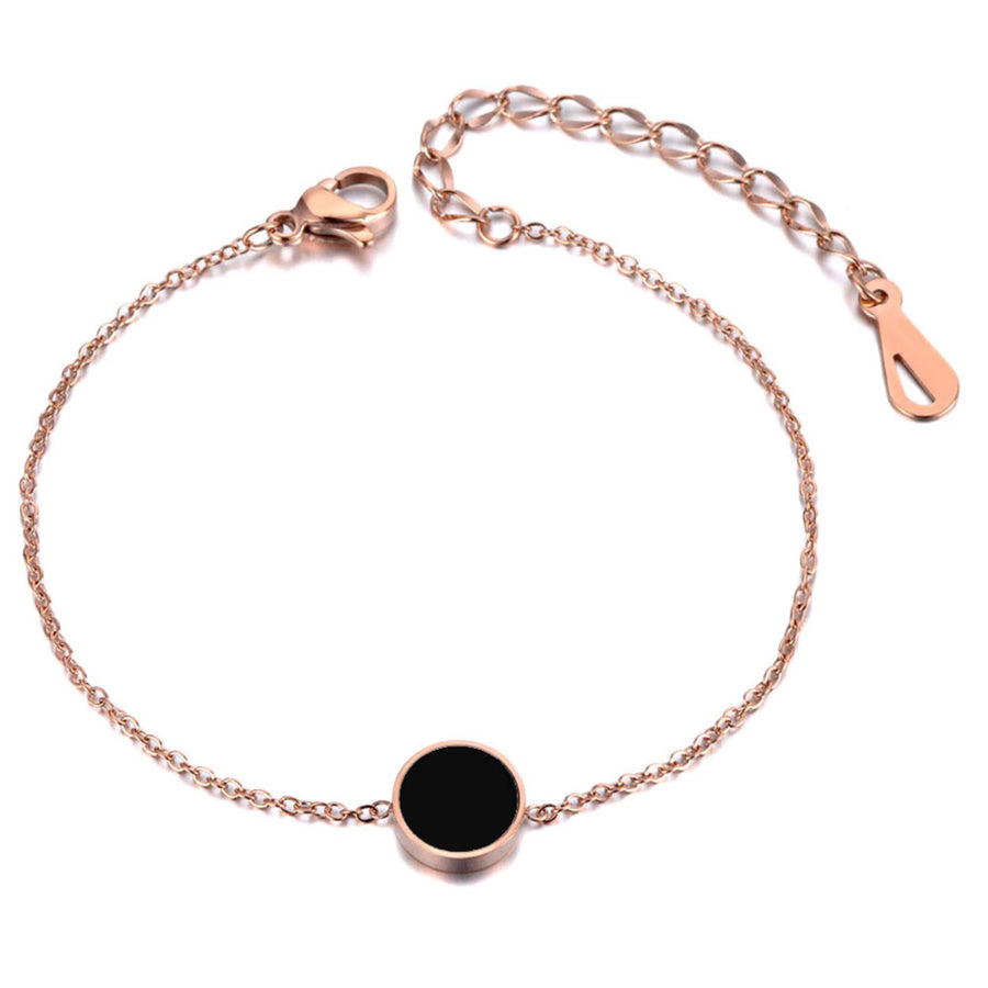 Noir Black Circle Necklace Earrings and Bracelet Rose Gold Set