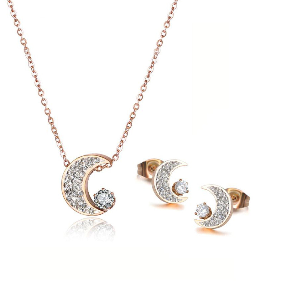 Moon Light Necklace and Earrings Rose Gold Set