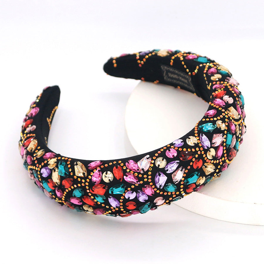 Bianca Multicolour Gems Beaded Fabric Headband