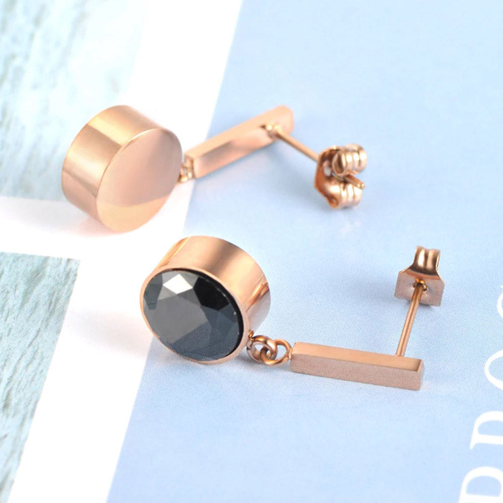 Little Black Onyx Rose Gold Drop Earrings