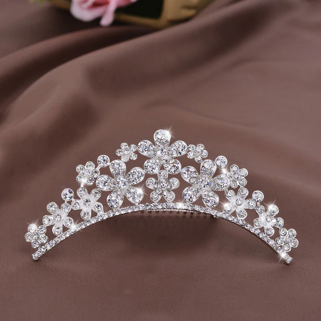 Royal Communion Crystal Silver Tiara Hair Comb