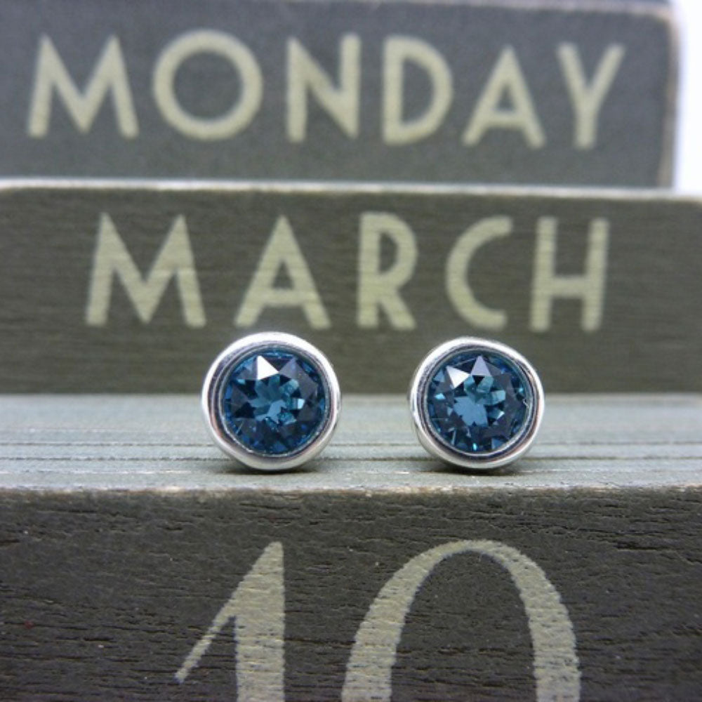 March Birthstone Sterling Silver Stud Earrings