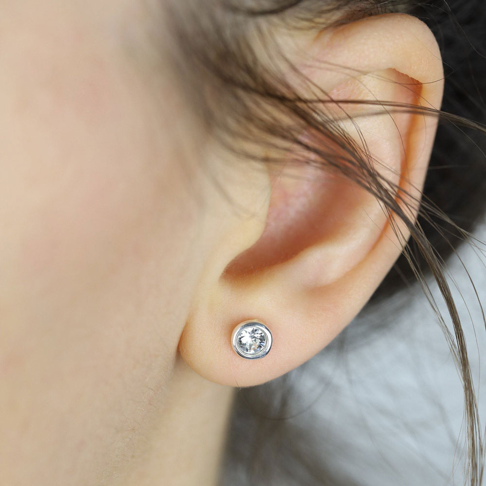 April Birthstone Sterling Silver Stud Earrings
