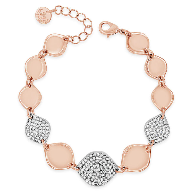 Jillian Two Tone Silver Rose Gold Rhombus Diamante Bracelet