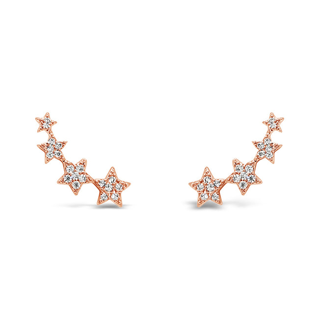 Four Stars Rose Gold Crawler Earrings