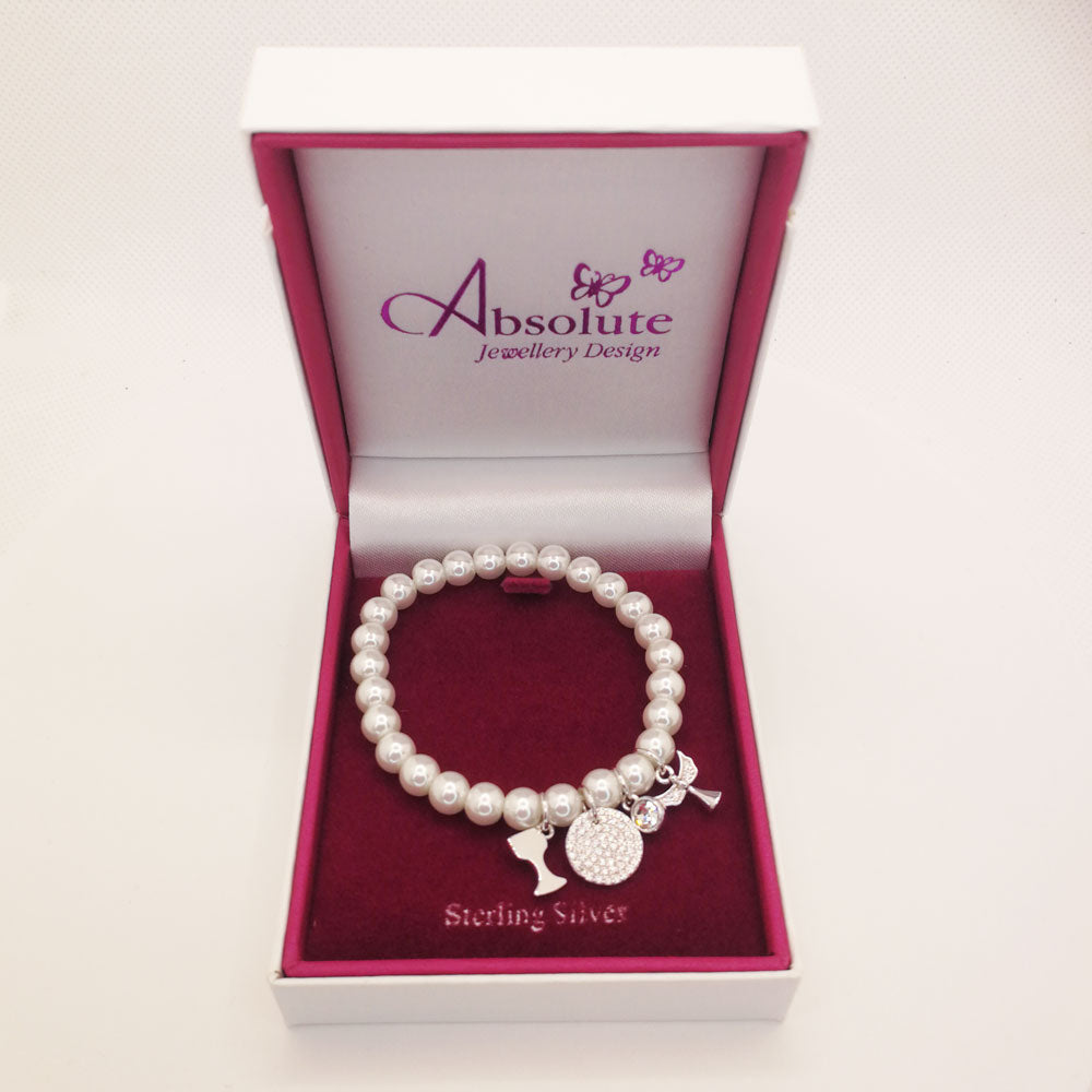Annie Pearls Children Sterling Silver Communion Bracelet